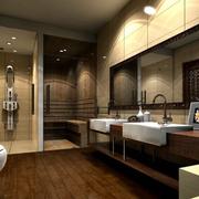 东南亚风格卫生间原木地板装饰
