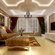 欧式风格客厅浅色印花电视背景墙