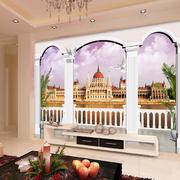 古堡风3D电视背景墙装饰