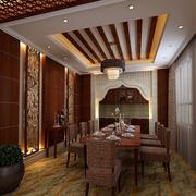别墅复古风格餐厅原木吊顶装饰
