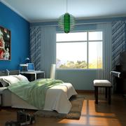 儿童房蓝色系床头背景墙装饰