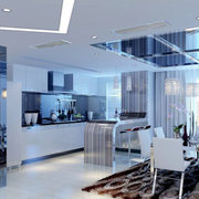 后现代风格餐厅玻璃吊顶装饰
