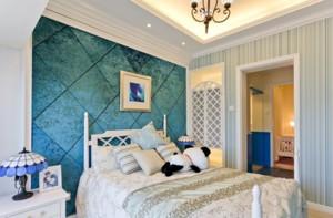 蓝色系简约欧式背景墙装饰