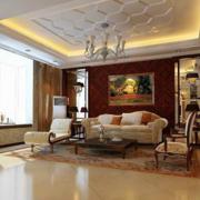 古典风格客厅石膏板吊顶装饰