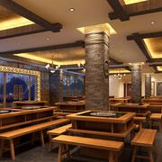 东南亚风格火锅店创意吊顶装饰