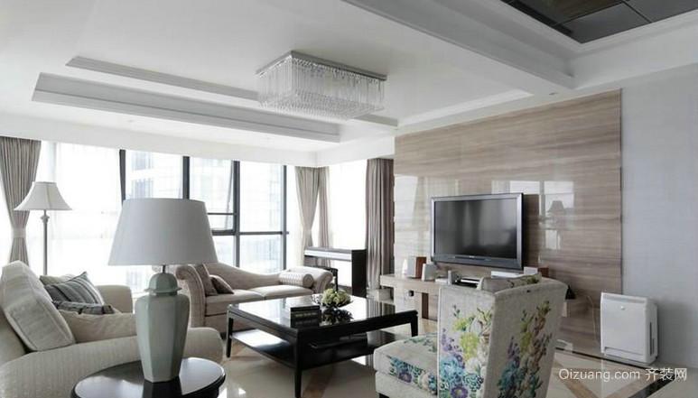 90平米个性客厅大理石电视背景墙装修效果图