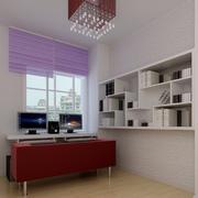 书房简约风格紫色系飘窗装饰