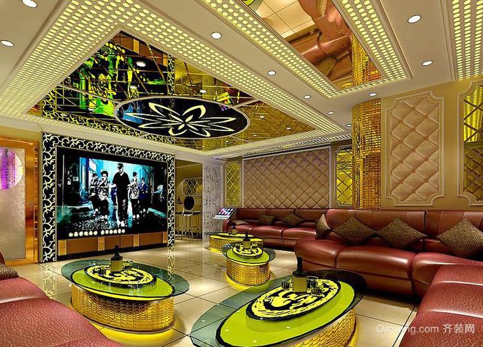 大型豪华型都市ktv吊顶背景墙装修设计效果图