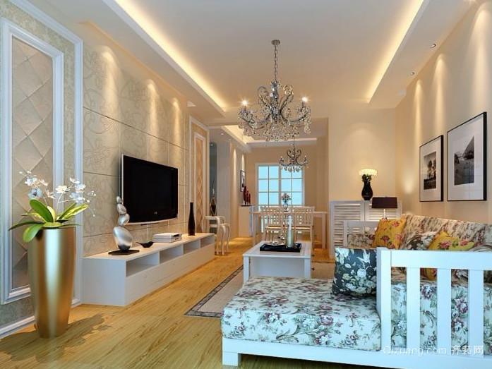 90平米简约风格客厅石膏板电视墙装修效果图