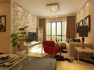单身公寓现代简约客厅石膏线背景墙装修效果图