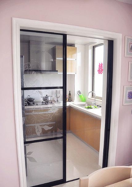 现代简约 风格 厨房 玻璃 推拉门 装修效果图 齐装