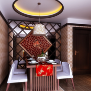 中式深色系餐厅镂空隔断装饰