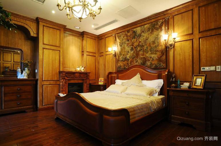 120平米三居室美式风格卧室背景墙装修效果图欣赏