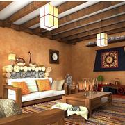 美式风格客厅原木吊顶装饰