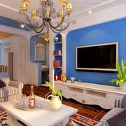 蓝色电视背景墙欣赏