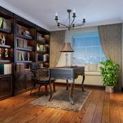 欧式简约风格书房整体书柜装饰