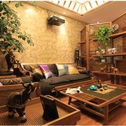 原木风格客厅置物架装饰
