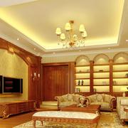 美式简约风格客厅原木电视背景墙装饰