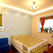 美式简约风格卧室印花背景墙装饰