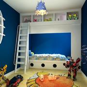 美式简约深色系儿童房上下铺装饰