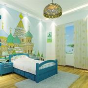 简约风格清新儿童房床头背景墙装饰
