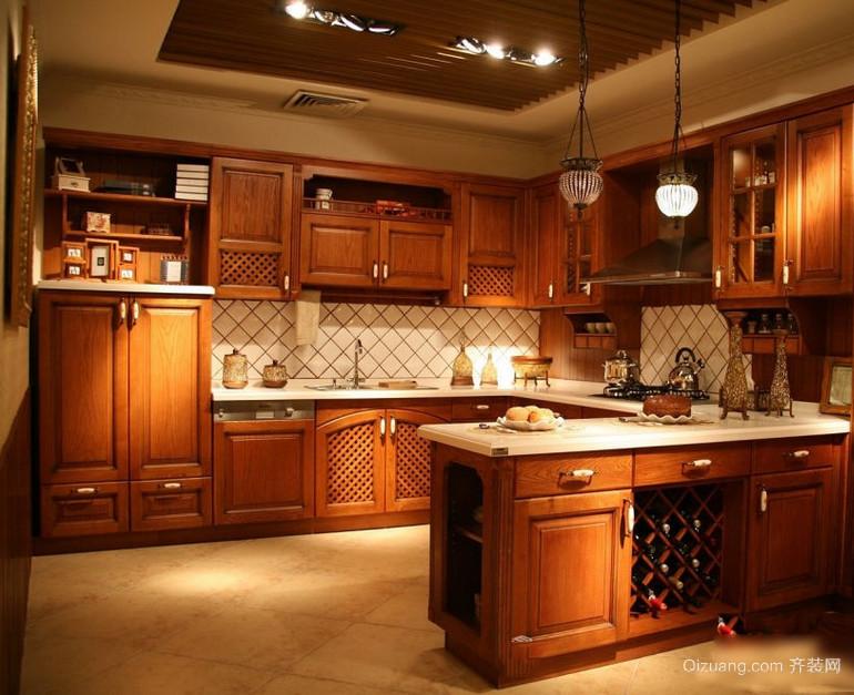 小型美式开放式厨房吊顶装修效果图