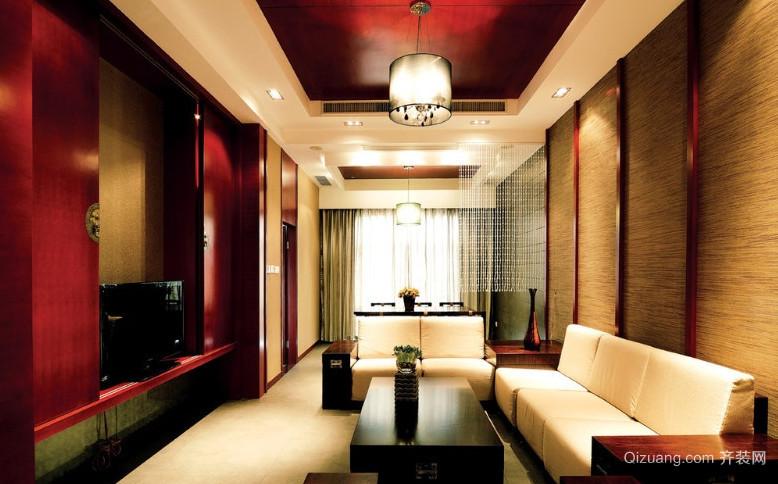 2015大户型东南亚风格客厅电视背景墙装修效果图