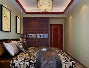 120㎡三室一厅中式风格卧室背景墙装修效果图