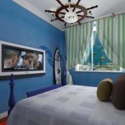 地中海风格卧室蓝色系背景墙装饰