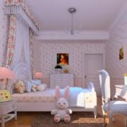 粉色甜美的儿童房