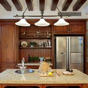 美式厨房原木吊顶装饰