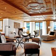 原木深色系客厅吊顶装饰