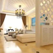 现代简约风格客厅白色隔断装饰