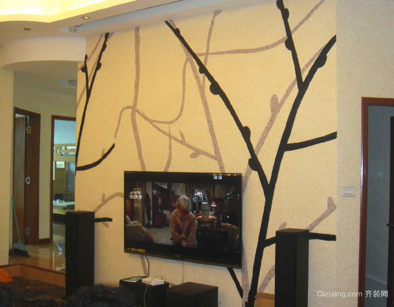2015单身公寓欧式客厅墙衣背景墙装修效果图