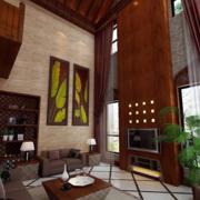 中式风格简约客厅电视背景墙装饰