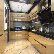 黄色精巧的厨房橱柜