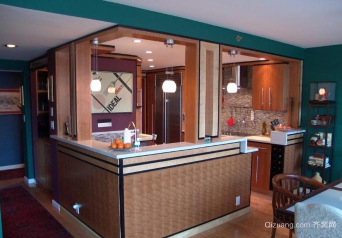全新欧式小户型厨房精美吧台效果图