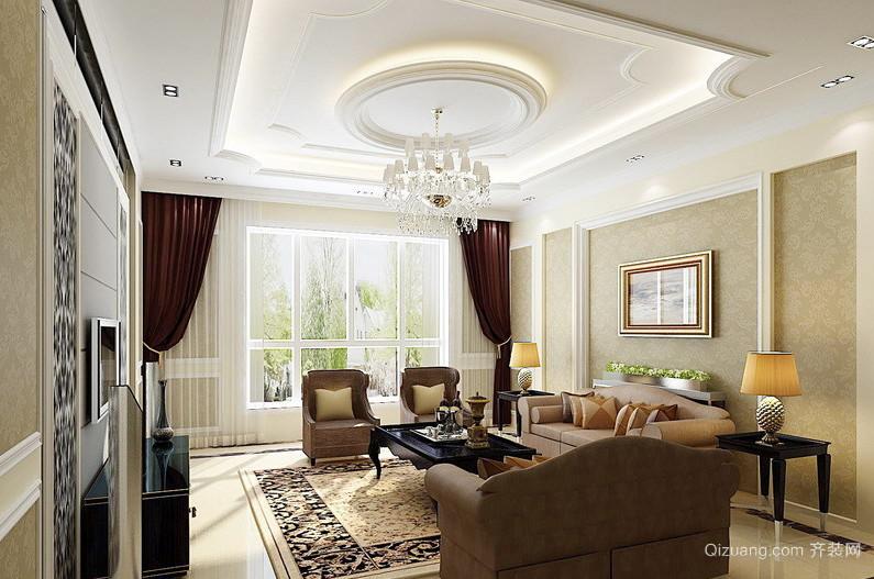 90平米大户型现代欧式客厅吊顶装修效果图