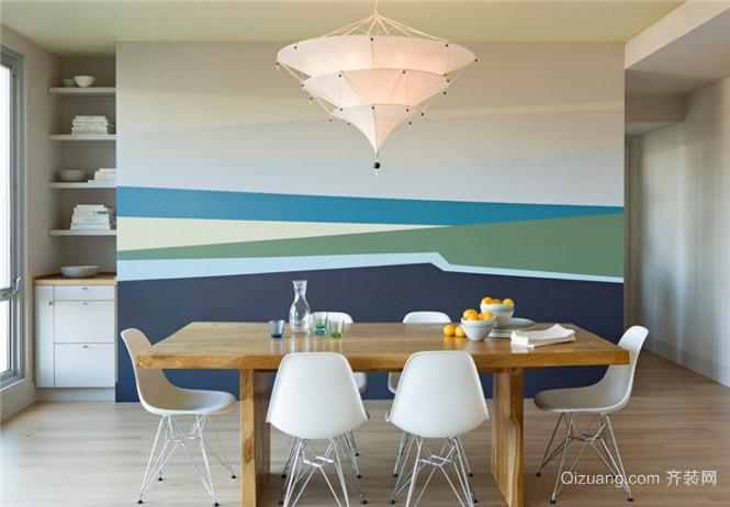 现代简约风格餐厅背景墙装修效果图