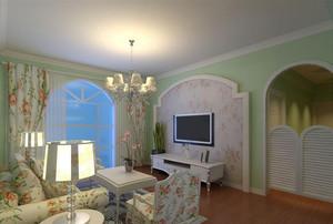2015最新单身公寓田园风格客厅背景墙装修效果图