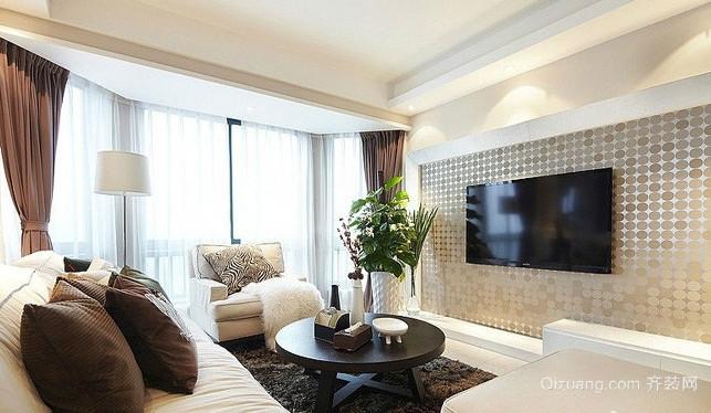 时尚公寓大客厅飘窗装修设计效果图