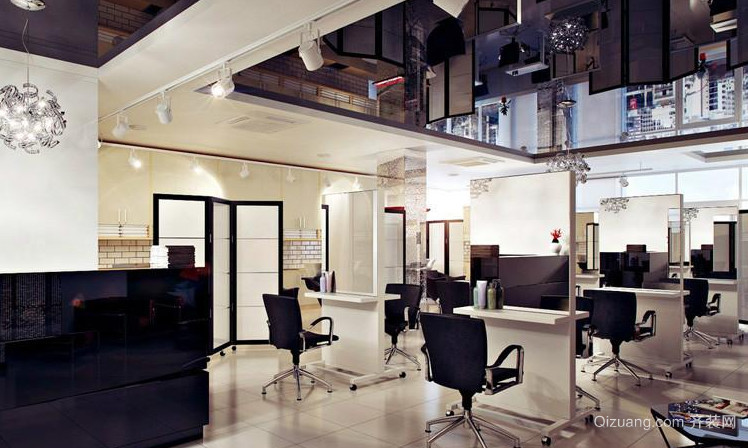 90平米高端美发店装修效果图