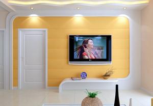 客厅橙色电视背景墙