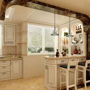 浅色调厨房吧台设计
