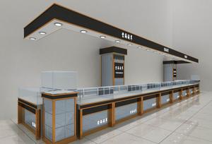 大户型现代 大厅 珠宝 展柜 设计装修效果图 齐装