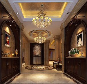90平米现代美式客厅玄关装修效果图