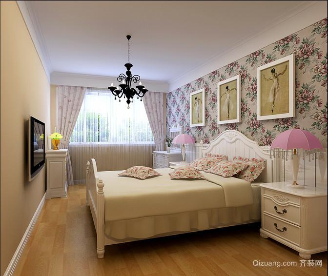 90平米浓浓的田园风格卧室背景墙装修效果图