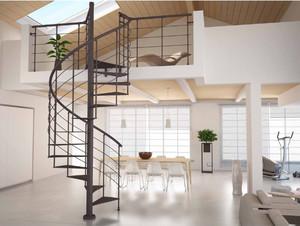 现代简约铁艺旋转楼梯装修效果图