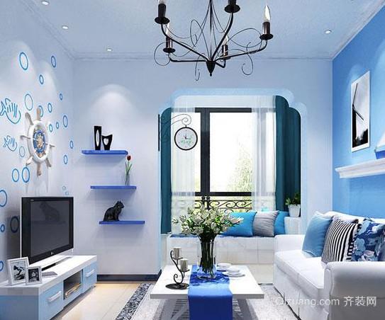 唯美地中海风格客厅飘窗装修设计效果图