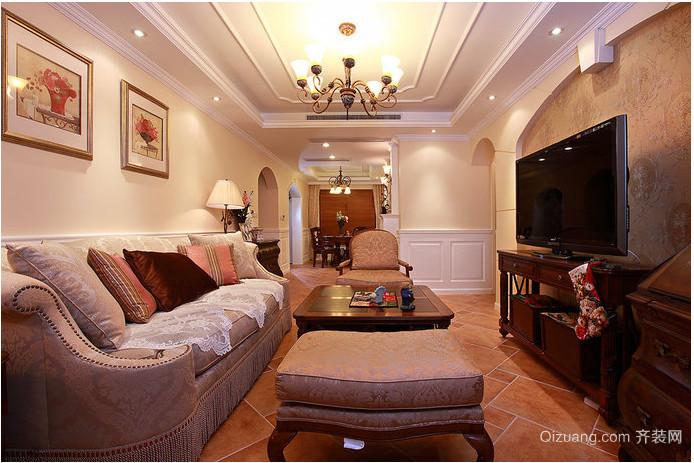 美式小户型客厅背景墙效果图